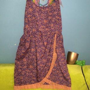 Summer Dress Gorgeous Peach Purple Ruffle